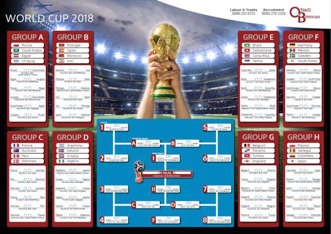image regarding World Cup Printable Schedule titled Down load our Totally free Environment Cup 2018 Wall Planner In this article ONeill
